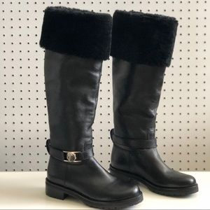 Versace Collection | Tall Leather Riding Boot